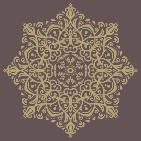 frilly: Floral  oriental pattern with golden arabesque and floral elements. Abstract ornament for background