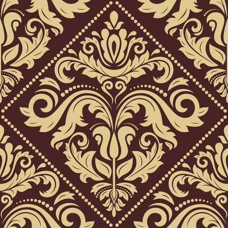 repetition: Pattern in the style of baroque. Seamless  background. Damask texture with orient and floral golden elements Stock Photo