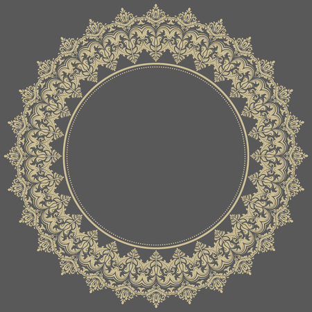 frilly: Floral vector oriental round pattern with arabesque and floral elements. Abstract golden ornament for background