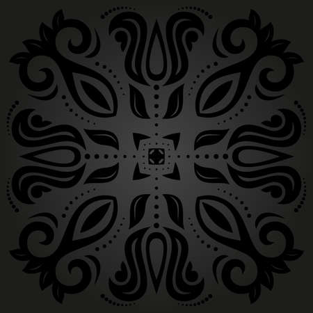 Oriental  pattern with damask, arabesque and floral elements. Seamless abstract background with traditional ornament. Black and gray colors photo