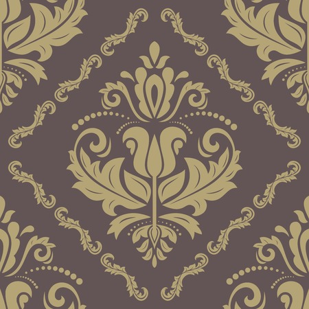 Oriental  pattern with damask, arabesque and floral elements. Seamless abstract background with traditional ornament