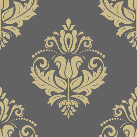 Oriental  ornament with damask, arabesque and floral elements. Seamless abstract background photo