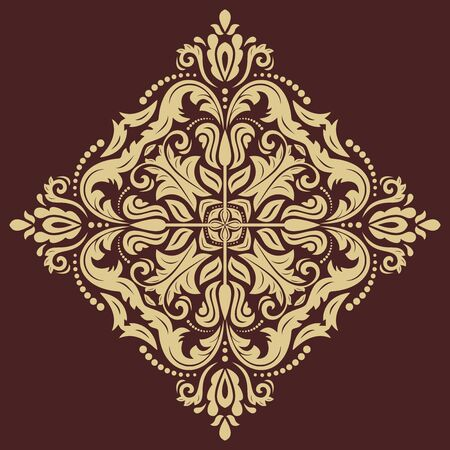 frilly: Floral  oriental pattern with damask, arabesque and floral elements. Abstract wallpaper and background with golden ornament
