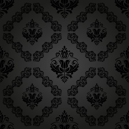 Damask vector floral dark pattern with arabesque and oriental elements. Seamless abstract traditional ornament for wallpapers and backgrounds Vector