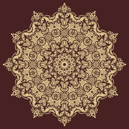 frilly: Floral vector oriental pattern with damask, arabesque and floral elements. Abstract golden ornament for background