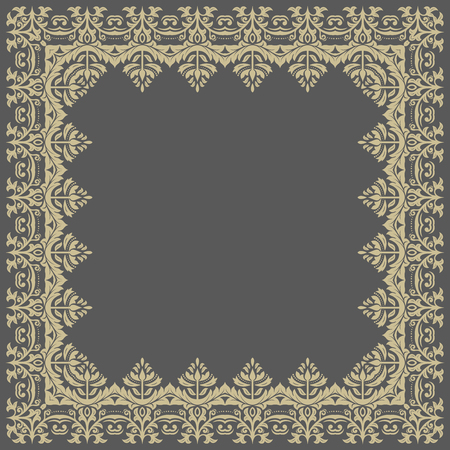 frilly: Oriental vector frame with damask, arabesque and floral pattern. Abstract golden frame Illustration