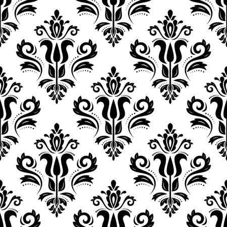 Damask seamless pattern. Fine traditional fine ornament with oriental elements. Black and white colors Illusztráció
