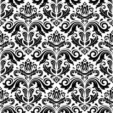 Oriental fijn patroon met damast, arabesk en florale elementen. Zwart en wit kleuren