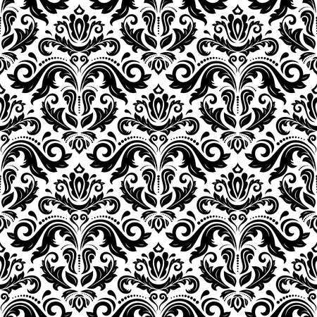 Oriental fine pattern with damask, arabesque and floral elements. Black and white colors Ilustração