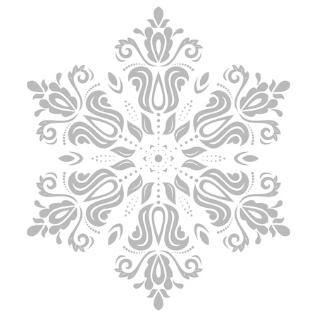 grey pattern: Floral vector oriental grey pattern with arabesque and floral elements. Abstract ornament for background