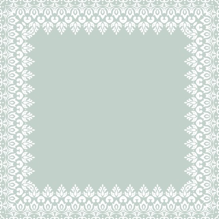 frilly: Oriental  abstract frame with arabesque and floral pattern. Blue and white colors