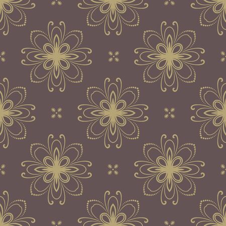 rapport: Floral  oriental pattern with damask and floral elements. Seamless abstract golden ornament for backgrounds