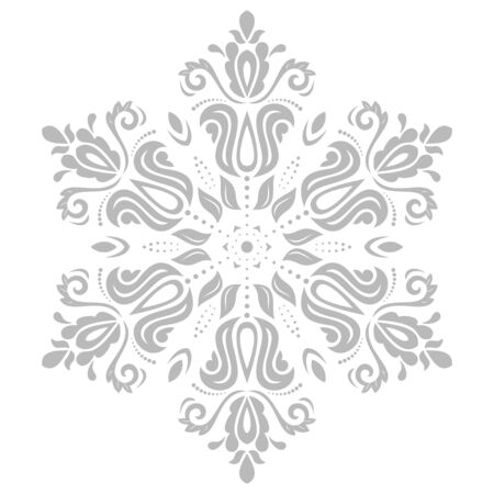 frilly: Floral vector oriental pattern with arabesque and floral grey elements. Abstract ornament for background