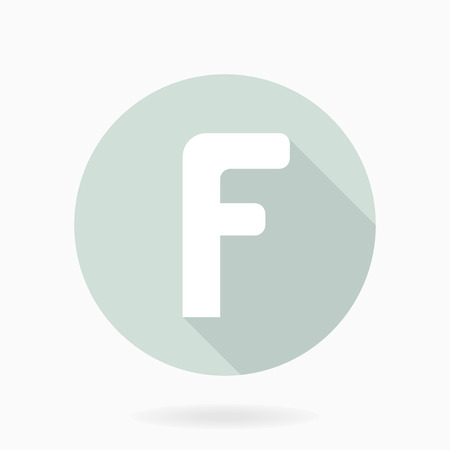 Fine vector letter F in the circle. Flat design and long shadow. Light blue and white colors Vector