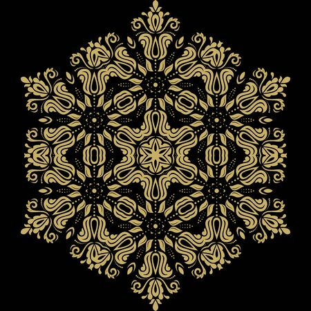 frilly: Floral vector oriental pattern with arabesque and floral golden elements. Abstract ornament for background