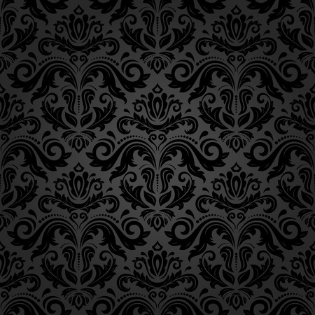 Oriental vector fine pattern with black damask, arabesque and floral elements. Seamless abstract background Çizim
