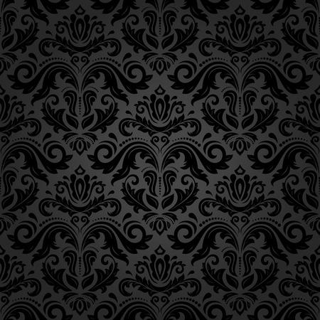 Oriental wektor wzór z czarnym grzywny adamaszku, arabeska i elementami kwiatowymi. Jednolite streszczenie tle Ilustracje wektorowe