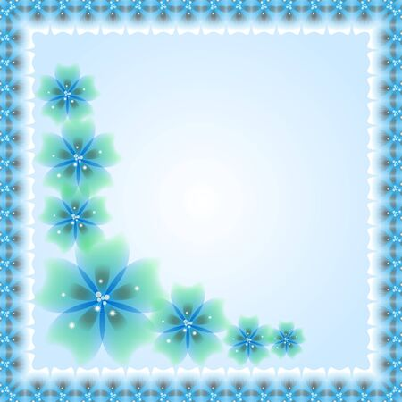 Oriental  blue frame with arabesque and floral pattern. Abstract ornament