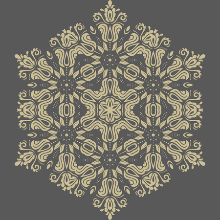 patchwork background: Damask  floral pattern with golden arabesque and oriental elements and grey background. Abstract traditional ornament Stock Photo