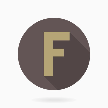 golde: Golden letter F  with flat design and long shadow in brown circle