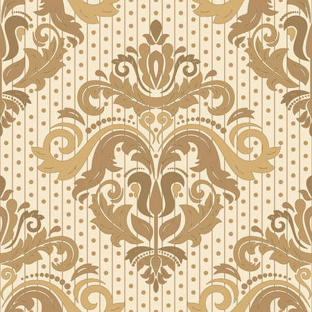 Oriental vector fine pattern with damask, arabesque and floral elements. Seamless abstract background. Pastel and golden colors