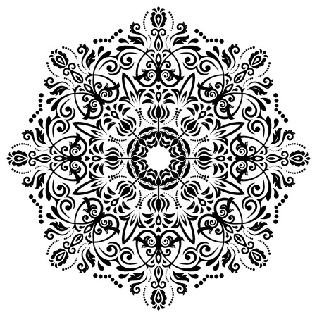 Damask vector floral pattern with arabesque and oriental elements. Abstract traditional ornament. Black and white colors