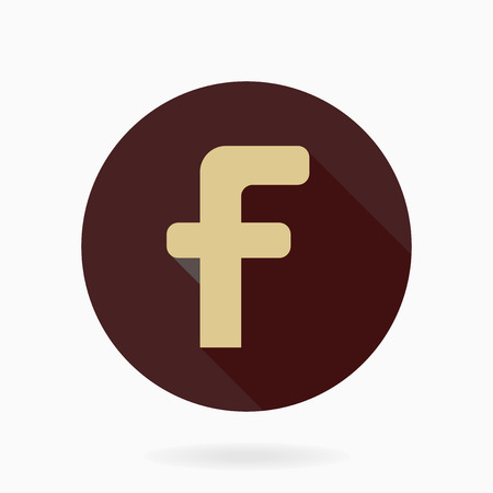 Fine vector golden letter F in the brown circle. Flat design and long shadow Vector