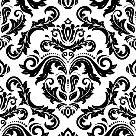 Oriental vector fine pattern with damask, arabesque and floral elements. Seamless abstract background. Black and white colors  イラスト・ベクター素材