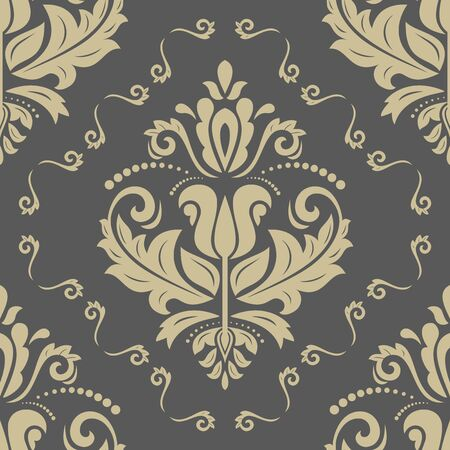 orient: Pattern in the style of baroque. Seamless  background. Damask texture with orient and floral golden elements Stock Photo