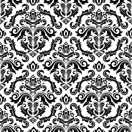 Oriental vector fine texture with damask, arabesque and floral elements. Seamless abstract background. Black and white pattern Vector
