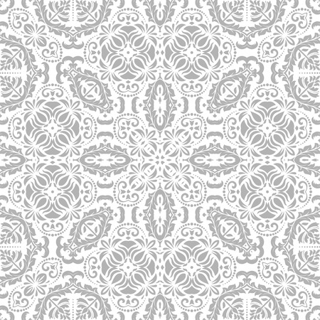 Pattern in the style of baroque. Seamless  background. Damask texture with orient and floral elements. Grey and white colors 版權商用圖片