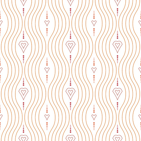 Geometric ornament. Seamless vector background. Abstract texture for wallpapers. Repeating vertical waves and geometric elements Vector