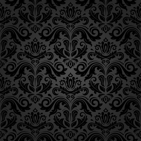 Oriental vector fine texture with damask, arabesque and floral black elements. Seamless abstract background Ilustrace