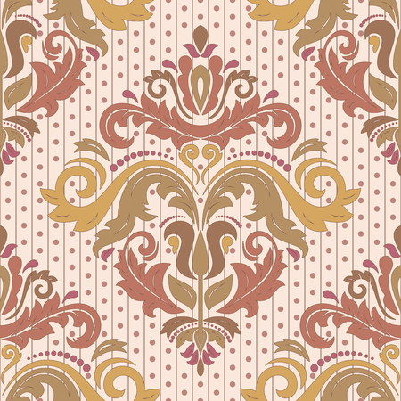 Oriental vector fine texture with damask, arabesque and floral colorful elements. Seamless abstract background Illustration