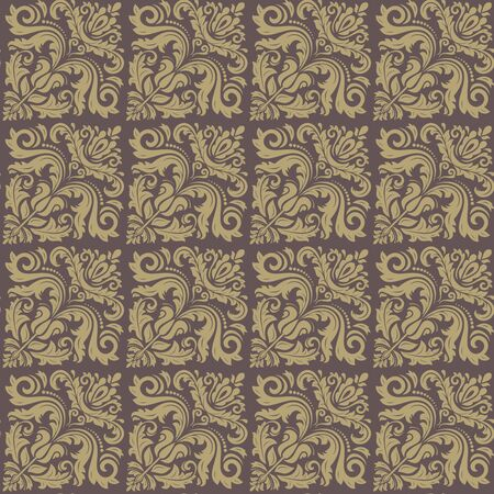 yelow: Damask seamless texture. Fine vector traditional background with oriental elements. Brown and golden pattern
