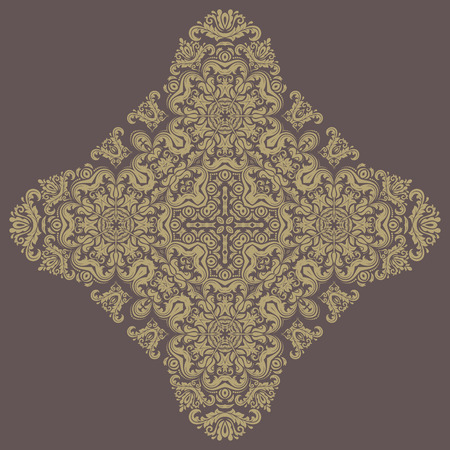 oriental vector: Oriental vector pattern with arabesque and floral elements. Traditional golden ornament Illustration