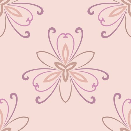 tillable: Floral  oriental pink pattern with floral elements. Seamless abstract ornament