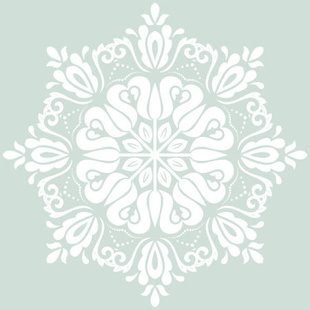laced: Damask vector floral pattern with arabesque and oriental elements. Abstract traditional ornament. Light blue and white colors Illustration