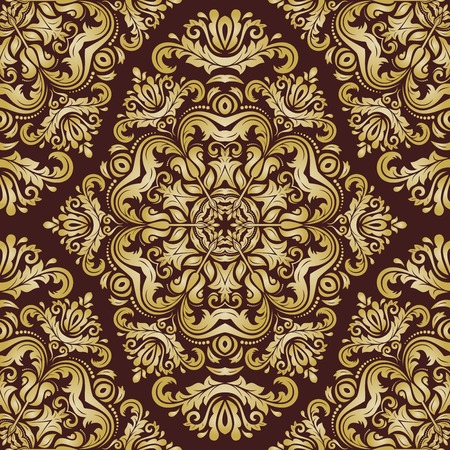 damask wallpaper: Oriental  fine pattern with damask, arabesque and floral golden elements. Seamless abstract background Stock Photo