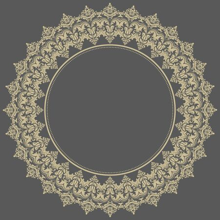 frilly: Floral  oriental round pattern with arabesque and floral elements. Abstract golden ornament for background Stock Photo