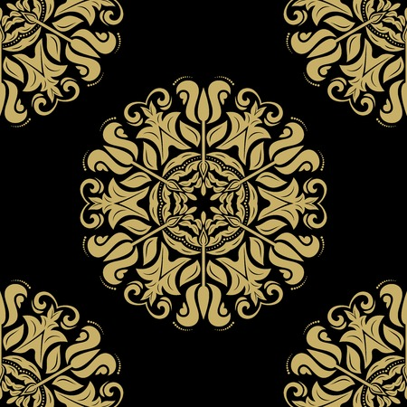 black damask: Damask seamless pattern. Fine  traditional fine ornament with oriental golden elements Stock Photo