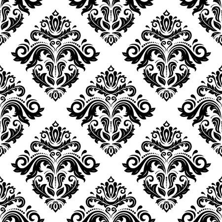 Oriental  fine pattern with damask, arabesque and floral elements. Seamless abstract background. Black and white colors