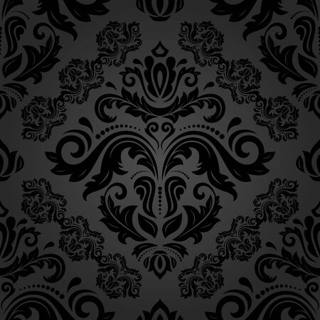 black damask: Oriental vector fine texture with black damask and floral elements. Seamless abstract background Illustration