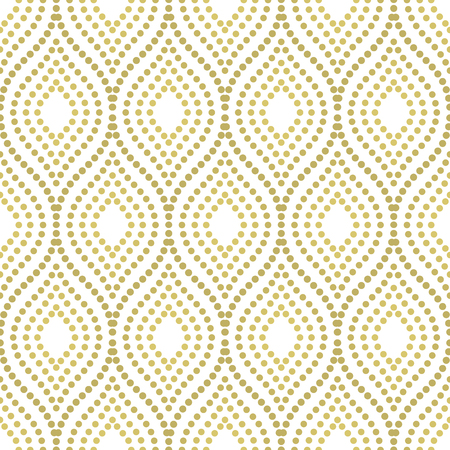 white wallpaper: Geometric ornament. Seamless vector background. Abstract texture with repeating dotted golden waves