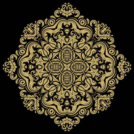 laced: Damask vector floral pattern with arabesque and oriental elements. Abstract traditional golden ornament