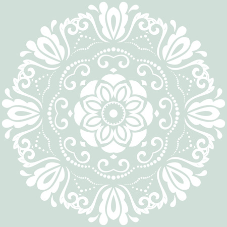 oriental vector: Oriental vector pattern with arabesque and floral elements. Traditional fine ornament. Light blue and white pattern