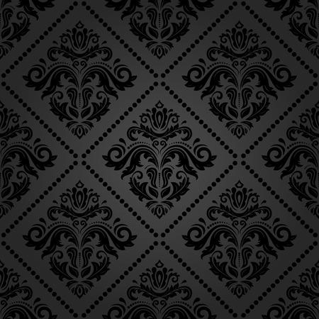 東洋ベクトル ダマスク織と花の要素と風合い。シームレスな抽象的な古典的な暗い背景 写真素材 - 41330115