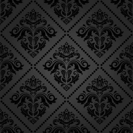 Oriental vector fine texture with damask and floral elements. Seamless abstract classic dark background
