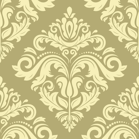 Oriental  fine pattern with damask, arabesque and floral elements. Seamless abstract golden background
