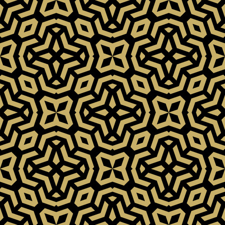 golden texture: Geometric ornament. Seamless vector background. Abstract golden texture with repeating geometric elements Vettoriali